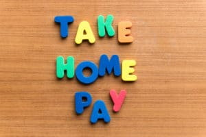 take home pay spelled out with blocks