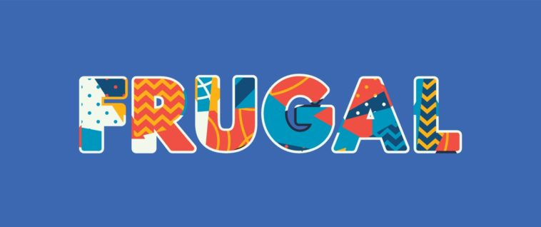 The word FRUGAL concept written in colorful abstract typography.