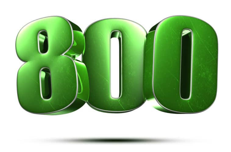 the number 800 in green