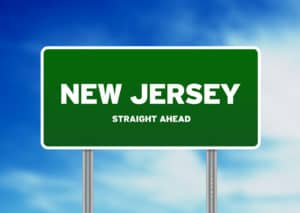 Green New Jersey, USA highway sign on Cloud Background