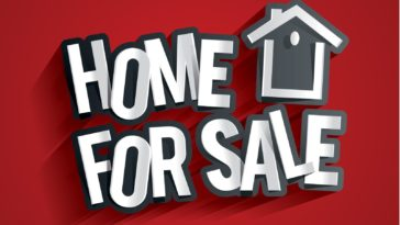 Home For Sale Design On Red Background vector illustration