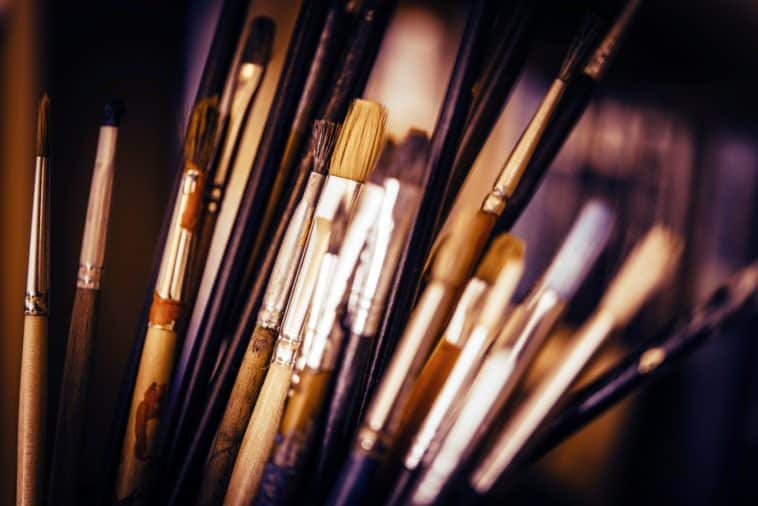 Colorful Oil Painting Paintbrushes Closeup Photo.