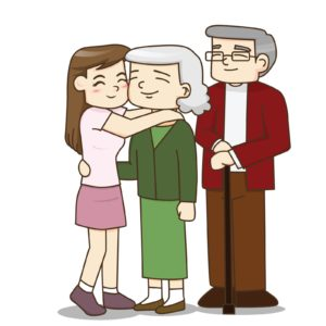Happy family, senior couple with pretty daughter