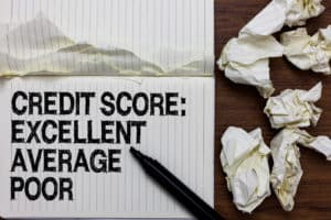 Handwriting text writing Credit Score Excellent Average Poor. Concept meaning Level of creditworthness