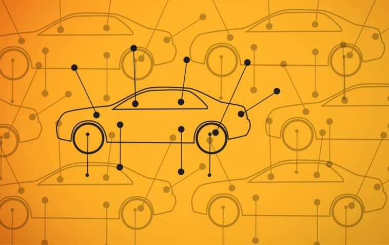 Picture of cars diagrams on yellow background with on car in bold