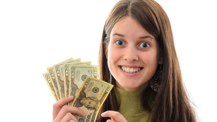 A Young Brunette Woman with Money in her hand