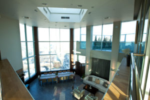 penthouse with large windows