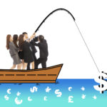 business team go fishing a big money from worldwide market