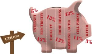 Utilities in the form of pig piggy bank. -How Much Does It Cost to Live By Yourself