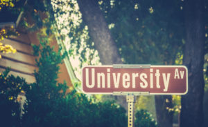 University Ave Street Sign At Liberal Arts College