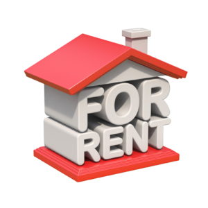 FOR RENT house sign orthogonal view 3D render illustration isolated on white -How Much Does It Cost to Live By Yourself
