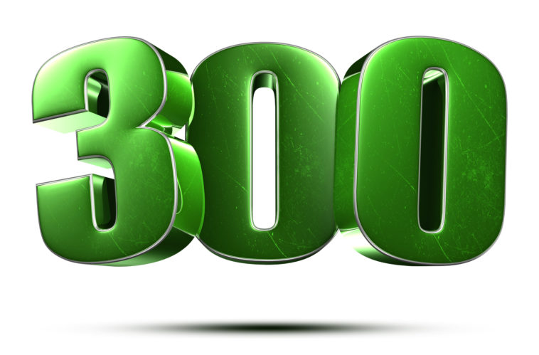 300 3d numbers green on white background