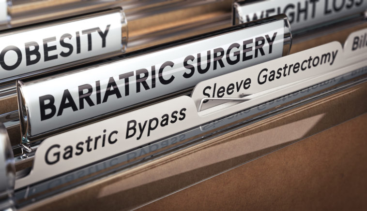 3D illustration of a folder with focus on a tabs with the texts bariatric surgery, gastric bypass and sleeve gastrectomy
