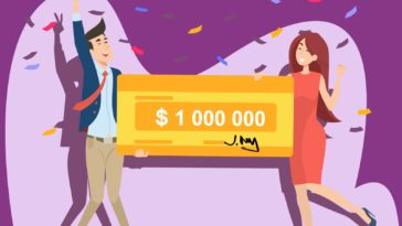 Happy guy and girl winning million dollars