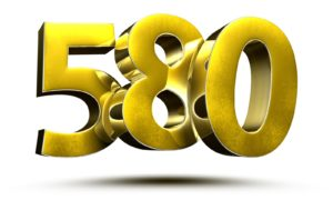 580 numbers 3D illustration on white background
