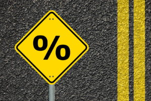 percentage sign on the roadway