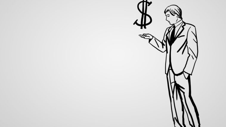 Pencil drawing about financial success in business