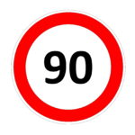 90 speed limitation road sign in white background