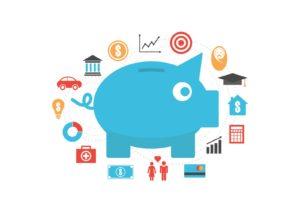 piggy bank with money symbols around it