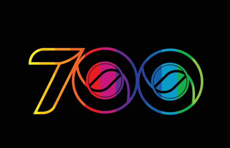 rainbow color colored colorful number 700 logo