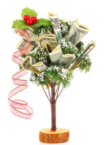 money tree with dollar bills and ribbon