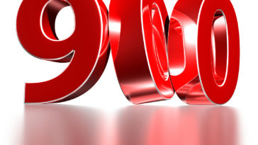 3D illustration Red number 900 isolated on a white background there is a reflection