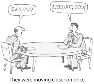 They were moving closer on price. ($65,000 vs. $100 million)