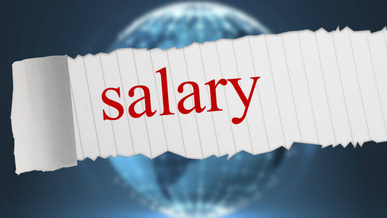 The word salary against glowing sphere on black background