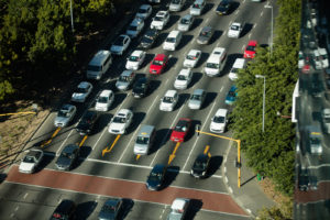 High angle view of traffic on road during sunny day