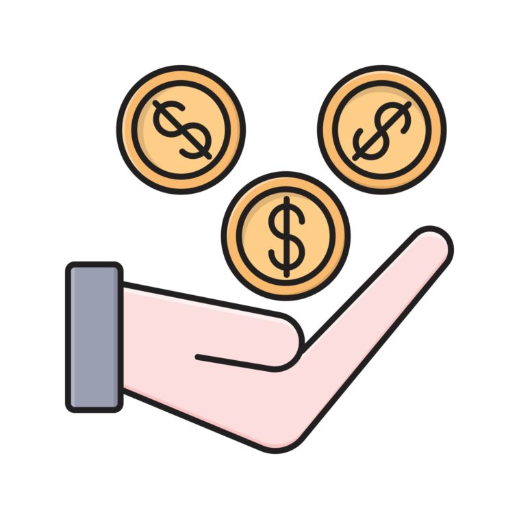 illustration of a hand and some coins