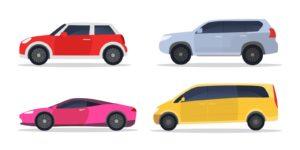 City cars set. Hatchback, sport car, minivan, suv, side view