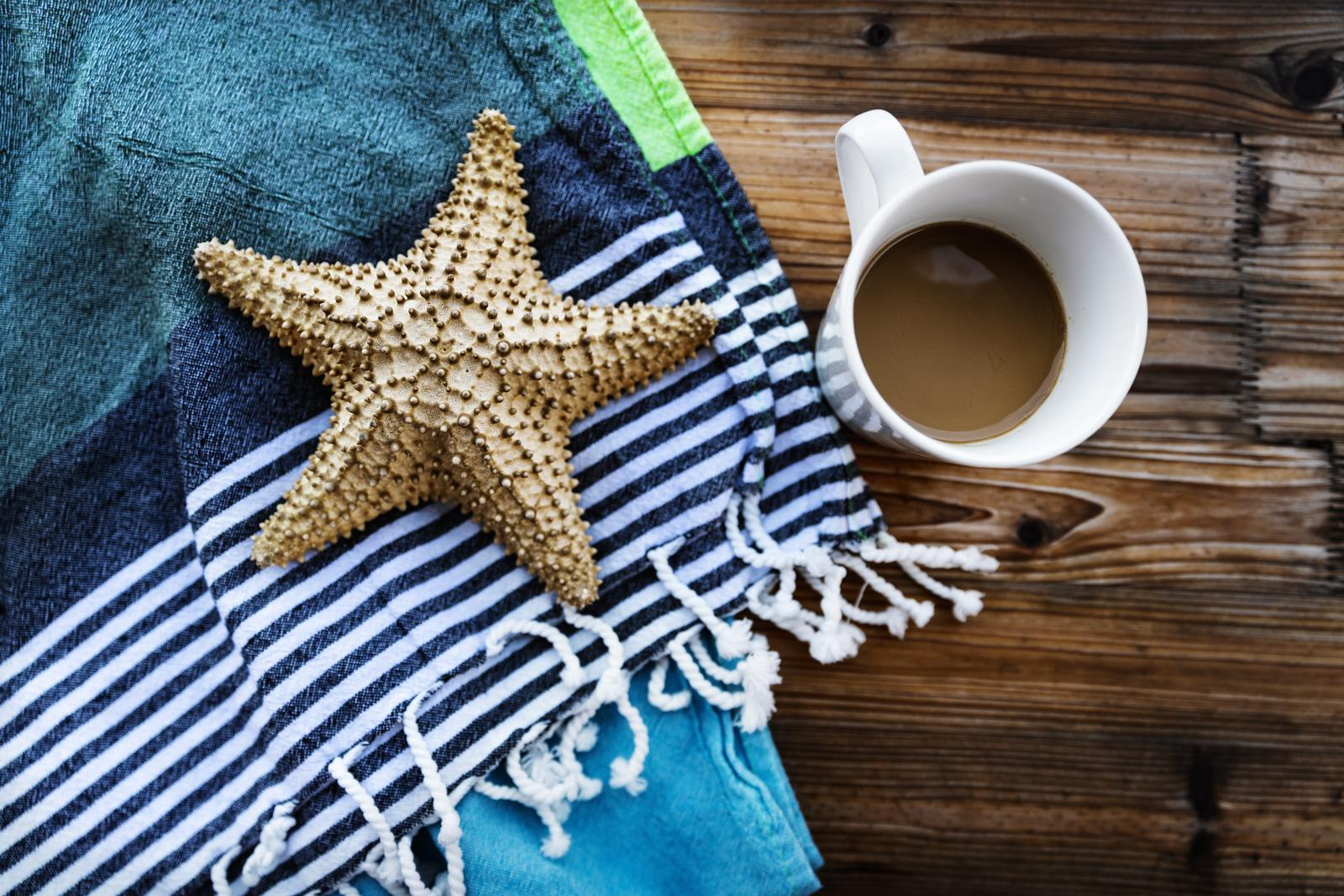 Closeup Photo of a Beautiful Still Life in Beach House. Morning Coffee and Starfish