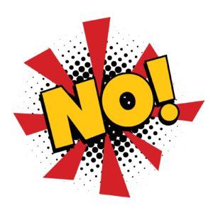 the word no in Pop art retro