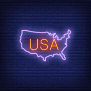 USA map on brick background