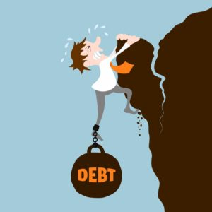Business man with debt falling from cliff concept vector illustration