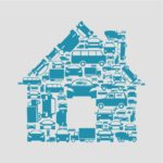 he house made of cars. A vector illustration