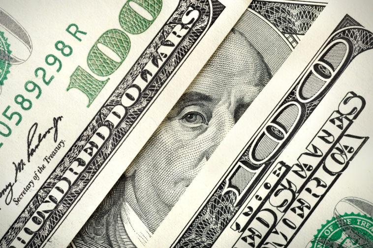 closeup of 100 dollar bills